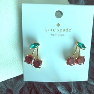 Gold Cherry Crystal Earrings